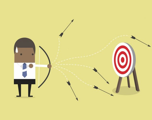 Businessman shooting arrows but missing. vector. concept: digital marketing