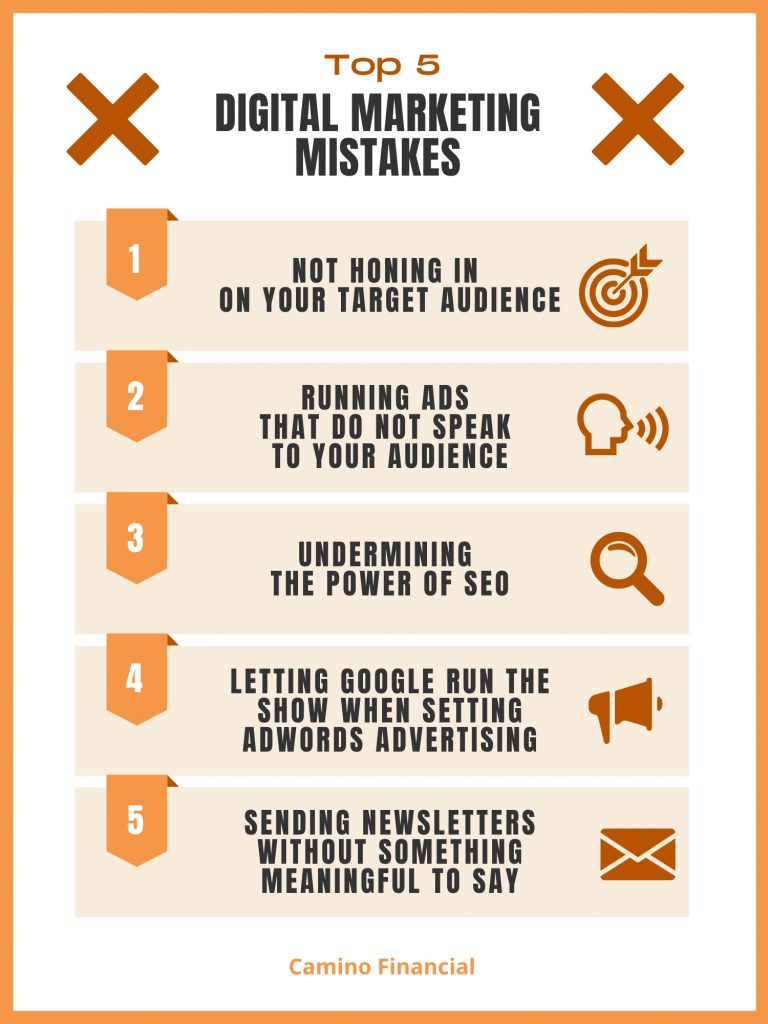 Top 5 Digital Marketing Mistakes, infographic, Camino financial