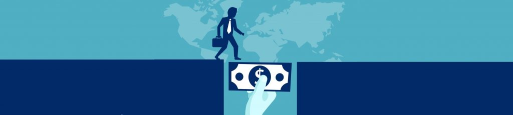 Vector illustration of powerful investor giving money supporting businessman in future development. concept: cash flow