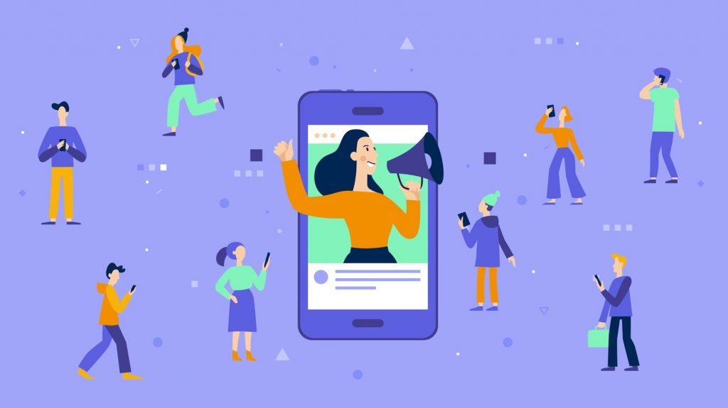 Vector illustration in flat simple style with characters - influencer marketing concept - blogger promotion services and goods for her followers online. concept: digital transformation