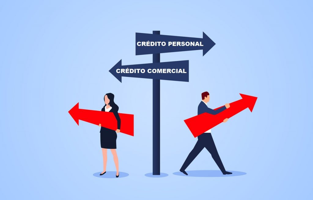 Empresario o empresaria llendo a lugares diferentes. concept: crédito comercial vs crédito personal