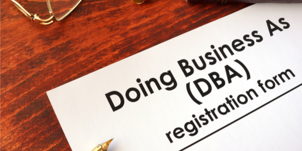 Close up of DBA registration form