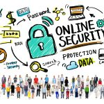 Graphic and cartoon showing security icons referring to online small business loans