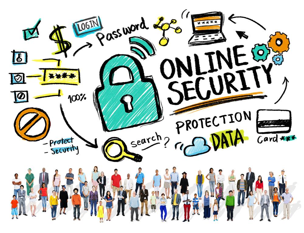 Dibujo y gráfico con símbolos de seguridad para referirse a los préstanos comerciales en línea
