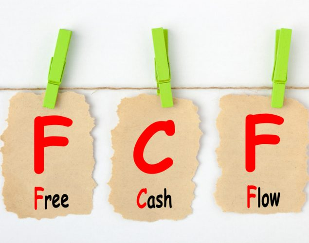 Letters FCF hanging on a rope with clothes pins to read Free Cash Flow