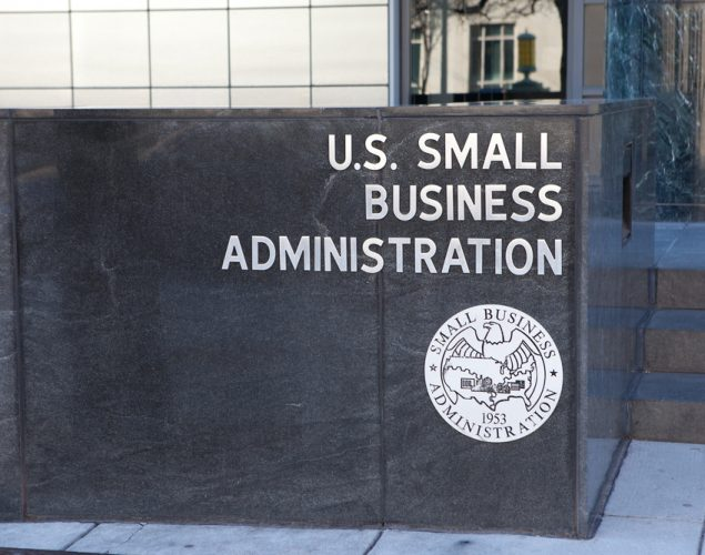 Small Business Administration building, to express the idea of government loans