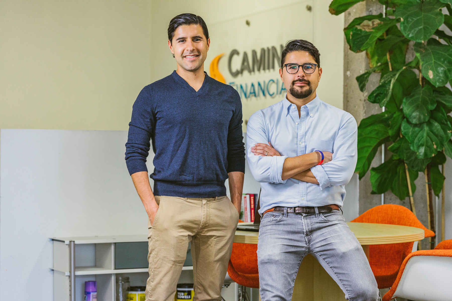 Sean and Kenny Salas at Camino Financial Office