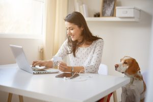 "Woman at her home desk using laptop with dog next to her, to illutsrtae the idea ""home business""."