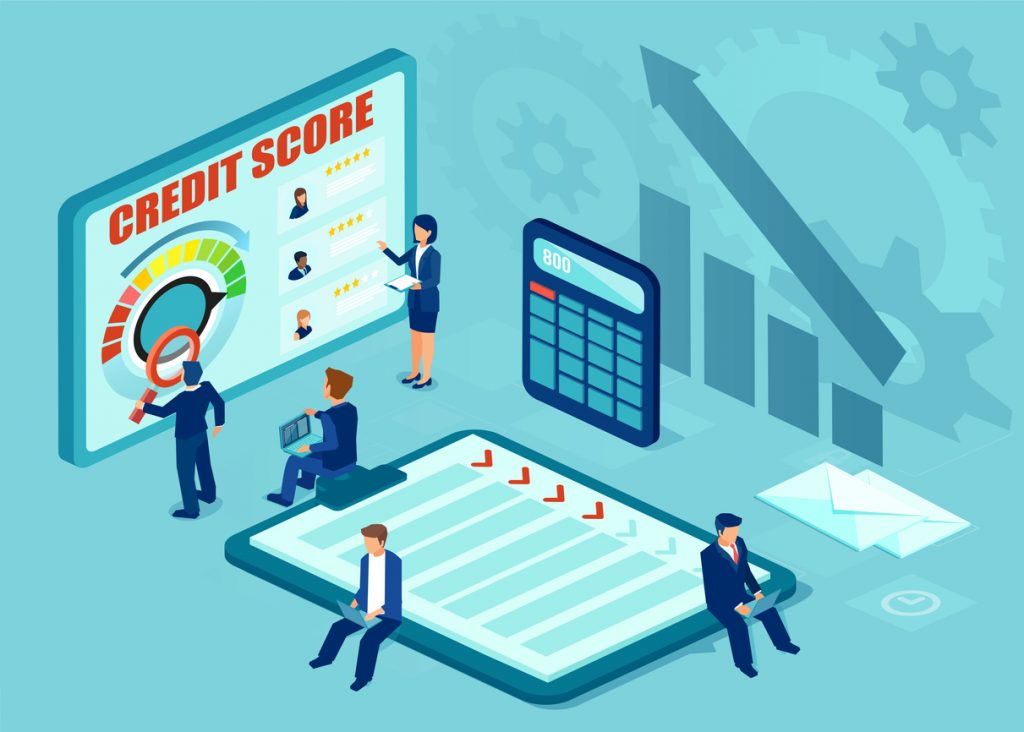 Vectoir of analysts evaluating credit history of prospective applicants for financial loan. Credit rating, risk control. concept: business credit bureaus