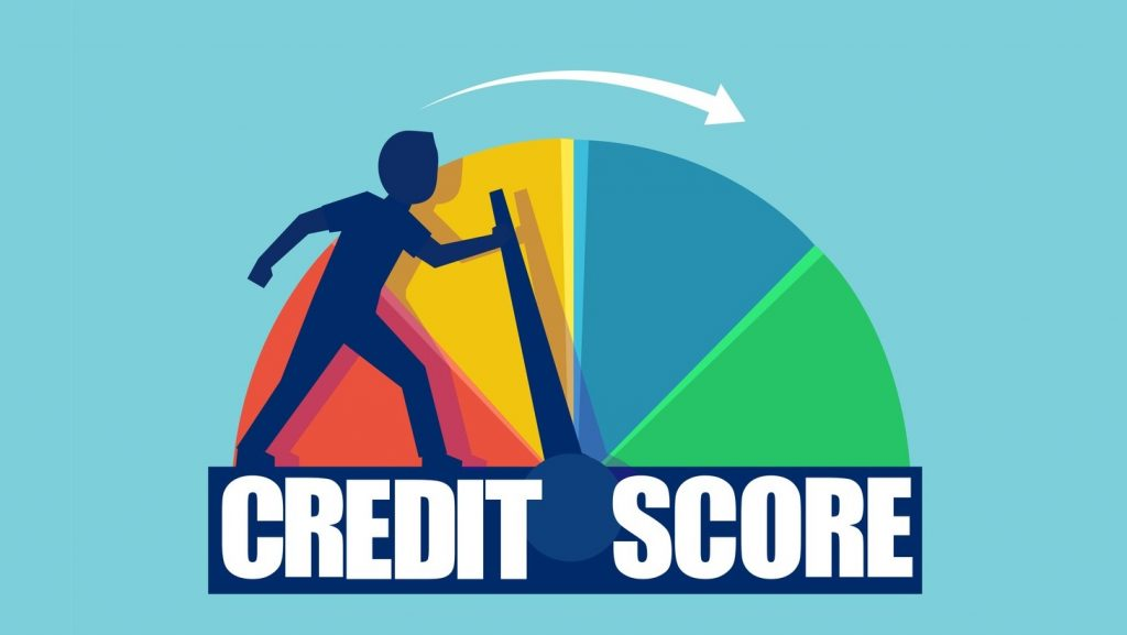 Credit score concept. Vector of a businessman pushing scale changing credit information from poor to good. concept: business credit bureaus