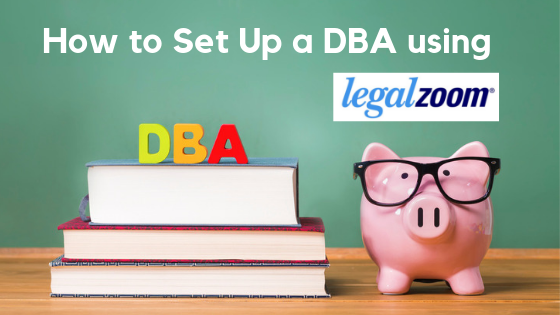 Pile of books with letters DBA on top. and piggy bank next to it. Concept: How to set up a DBA with LegalZoom
