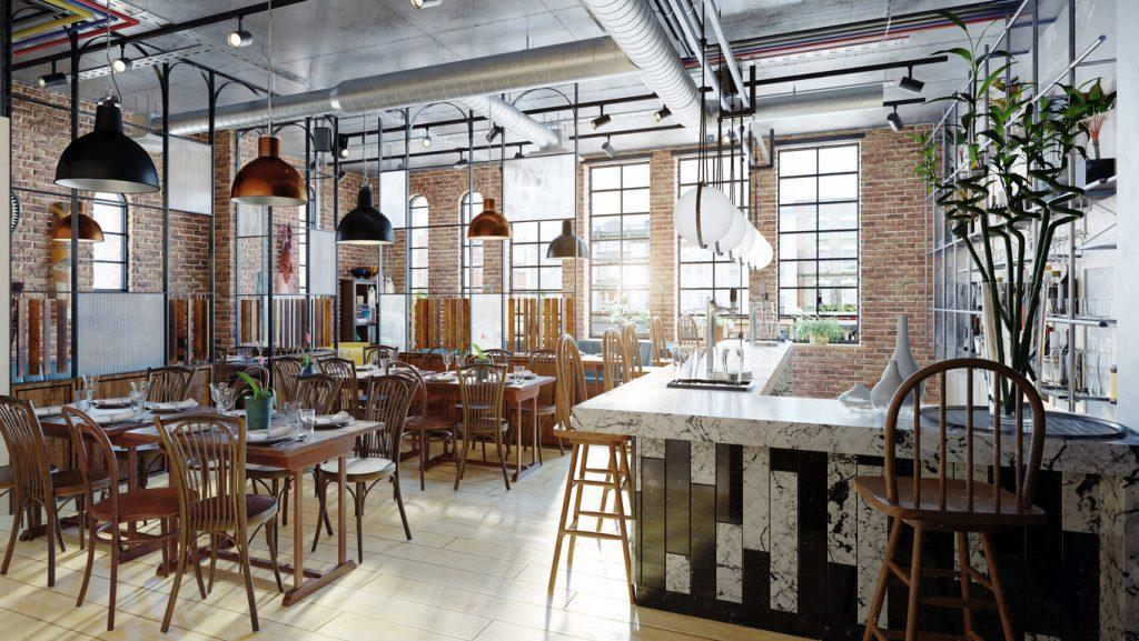 Modern restaurant interior design. Concept: how to decorate your restaurant.