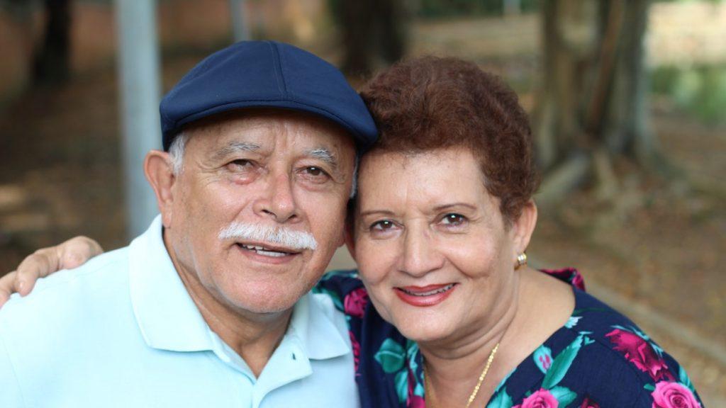 Lovely senior Hispanic couple close up. concept: undocumented immigrants