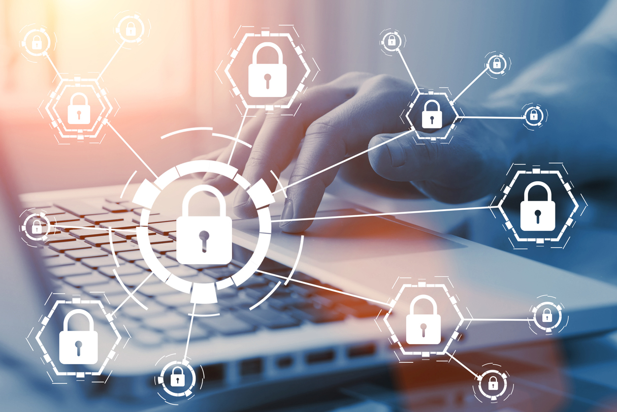Online internet secure payment and network safe communication and banking concept. Person pay in web via computer. Locks and padlocks on diagram. Concept: password manager
