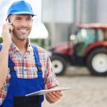 Farmer or product supplier talking to a client over the phone. Concept: accounts receivable.