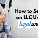 "Team joing hands together, with legend ""How to set up an LLC using LegalZoom"" and LegalZoom logo."