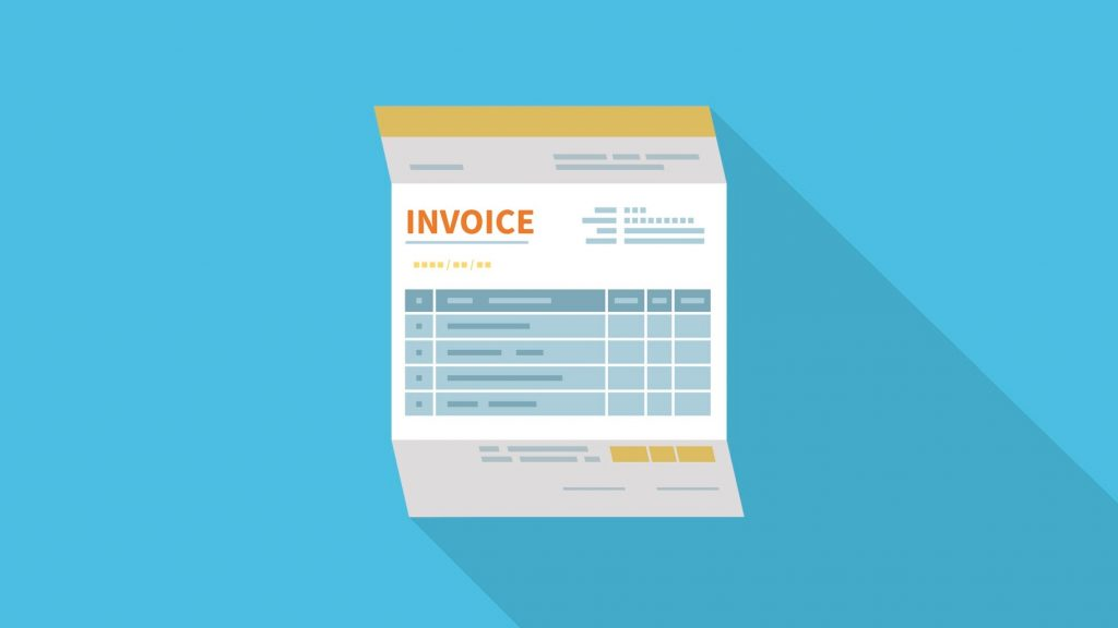 Invoice icon isolated with a long shadow. Unfilled, minimalistic form of the document. Payment and invoicing, business or financial operations sign. Template design in the flat style. Vector. concept: payment terms