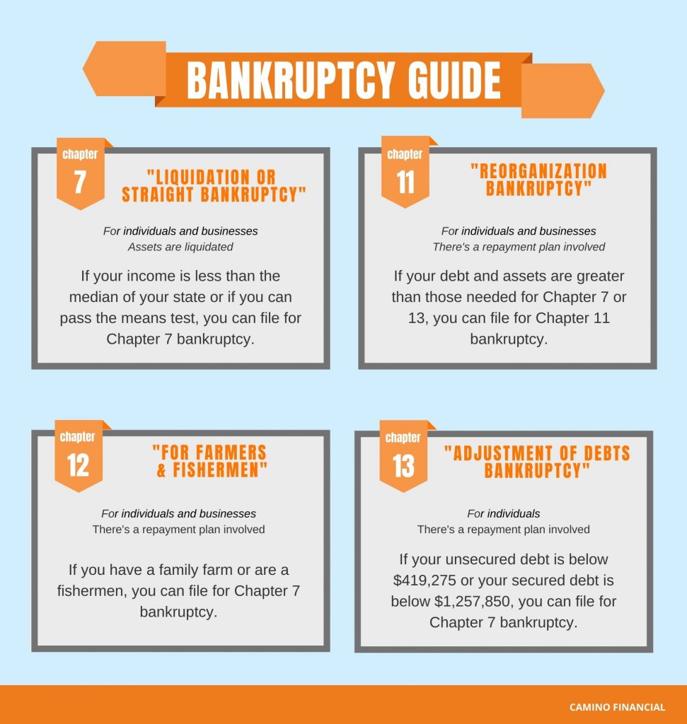 bankruptcy guide, infographic. camino financial