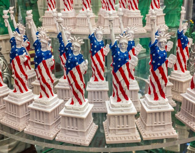 Statues of Liberty on the shelf in a gift shop. Concept: Marketing ideas for the 4th of July