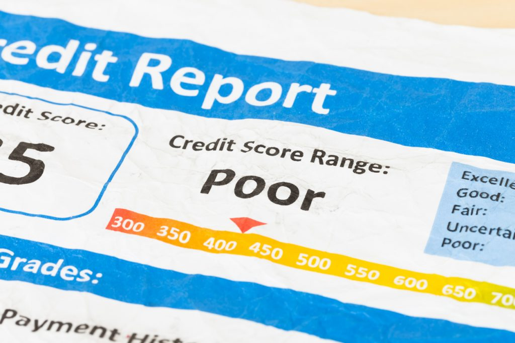 Poor credit score report on wrinkled paper. Concept: How To Get A Business Loan With Bad Credit