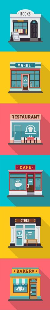 Set of flat shop building facades icons. Vector illustration for local market store house design. Shop facade building, street front commercial market. concept: support small businesses