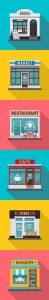 set de escaparates de tiendas tipo íconos. Ilustracion vectorial de pequeños negocios. Concept: apyora a las pequeñas empresas