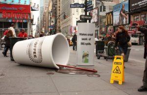 Bounty guerrilla marketing, big cup of coffee, marketing, creative, advertising. Source: loopsagency.com. Concept: guerrilla marketing