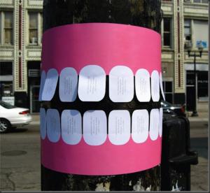 Creative marketing, creative ads, guerrilla marketing, tear-off poster. Source: keap.com. Concept: what is guerrilla marketing