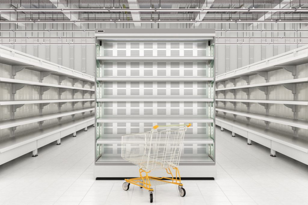 Store interior with empty shopping cart. Concept: dropshipping
