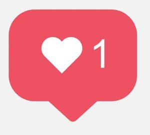 simbolo de instagra, like, corazon, botón de redes sociales