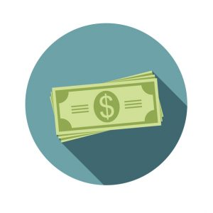 Stack of dollars. Paper bills or money. Icon in a flat style with shadow. Vector, illustration EPS10. Concept: salary
