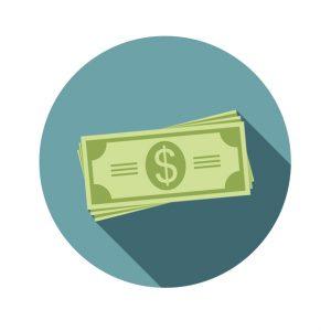 Pila de billetes, dinero. Ícono con flat style y sombra, vector, ilustración. Concept: salario