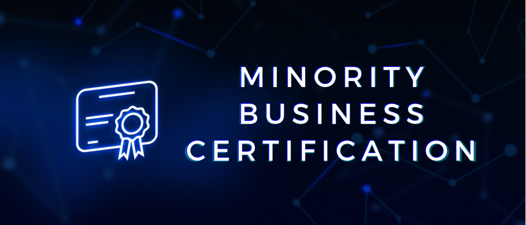 Achievement, certified, certification document, corporate sector, website landing page. Concept: minority business certification