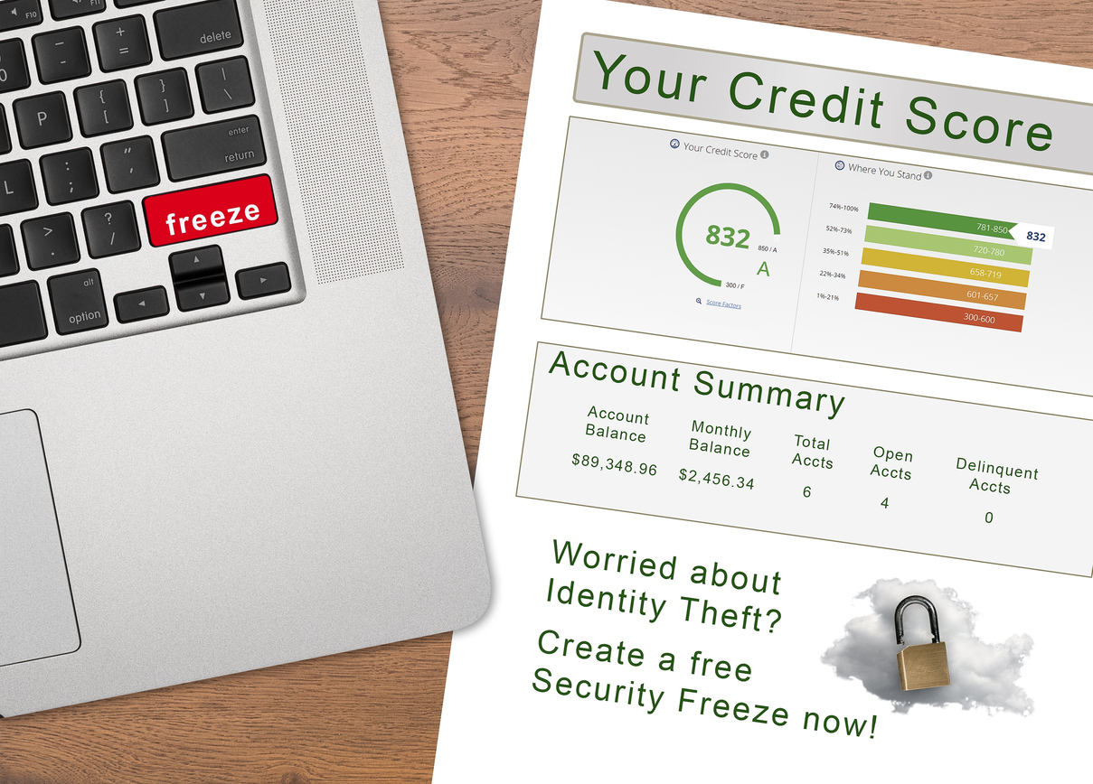 Laptop with Freeze on the red key by credit score report as concept for new law allowing free credit freezes with agencies. Concept: credit freeze