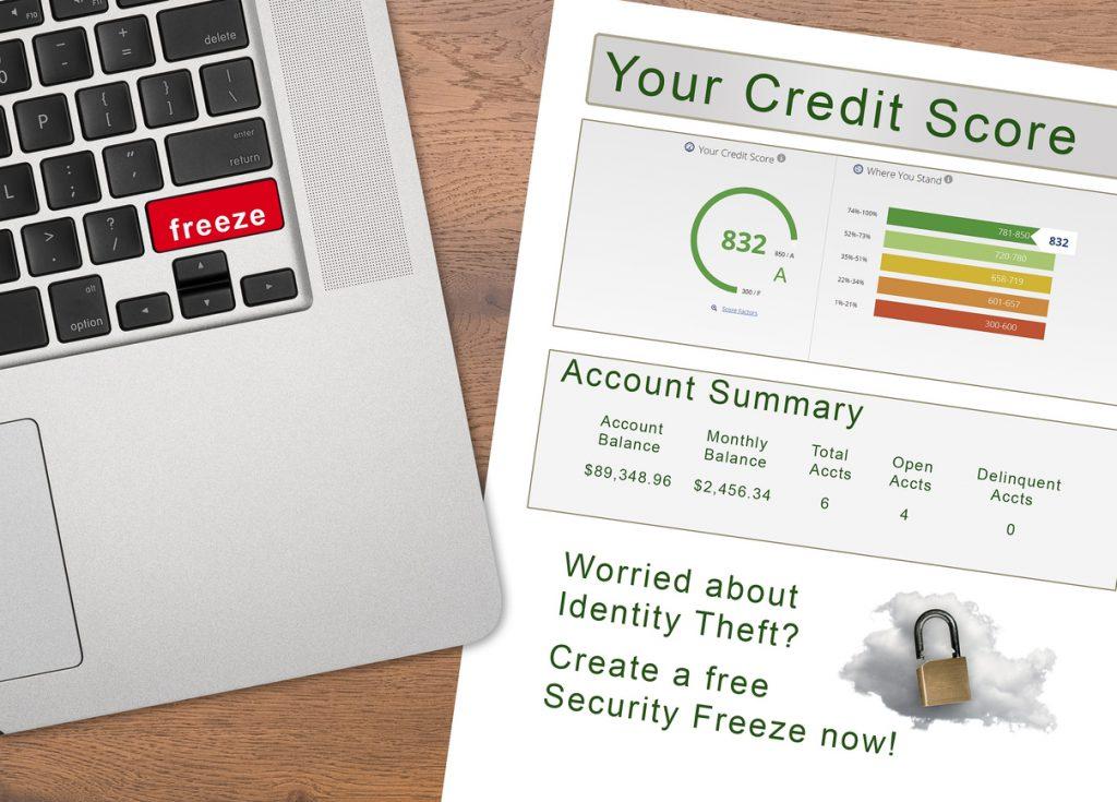 Laptop con congelación en un botón rojo, puntaje crediticio, reporte de crédito. Concept: crédito