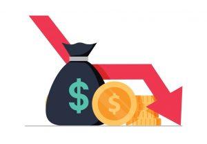Vector de pe´rdida de dinero, ilustración plana, dibujo, monedas y flecha hacia abajo, crisis financiera. concept: recesión
