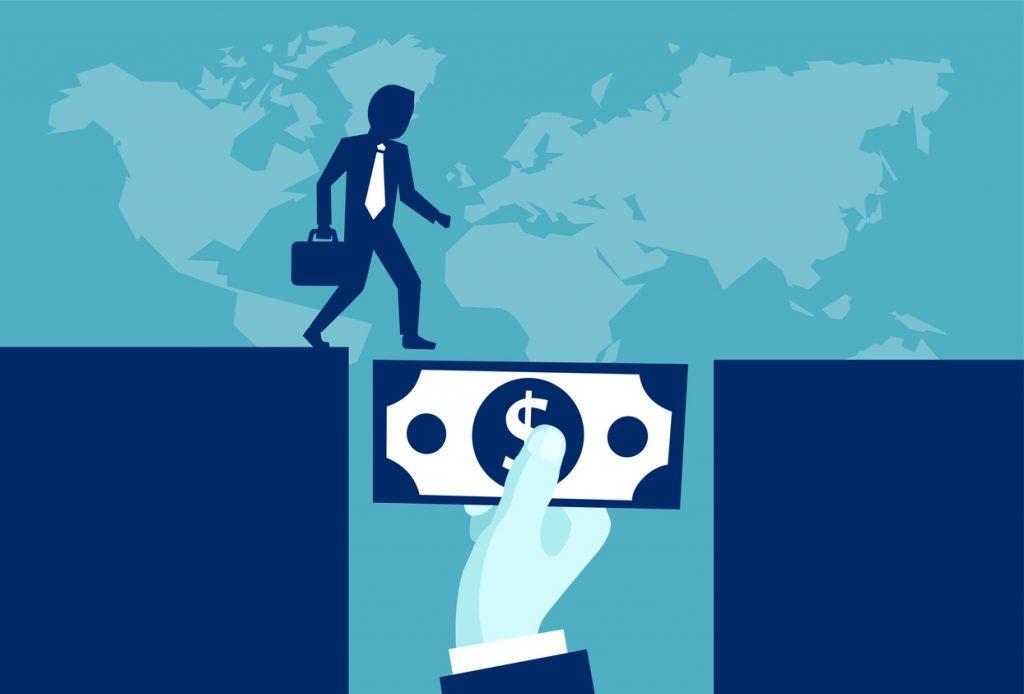 ilustracíón, vector, inversionista poderoso dando dinero para ayudar un hombre de negocios. Concept: préstamos puente