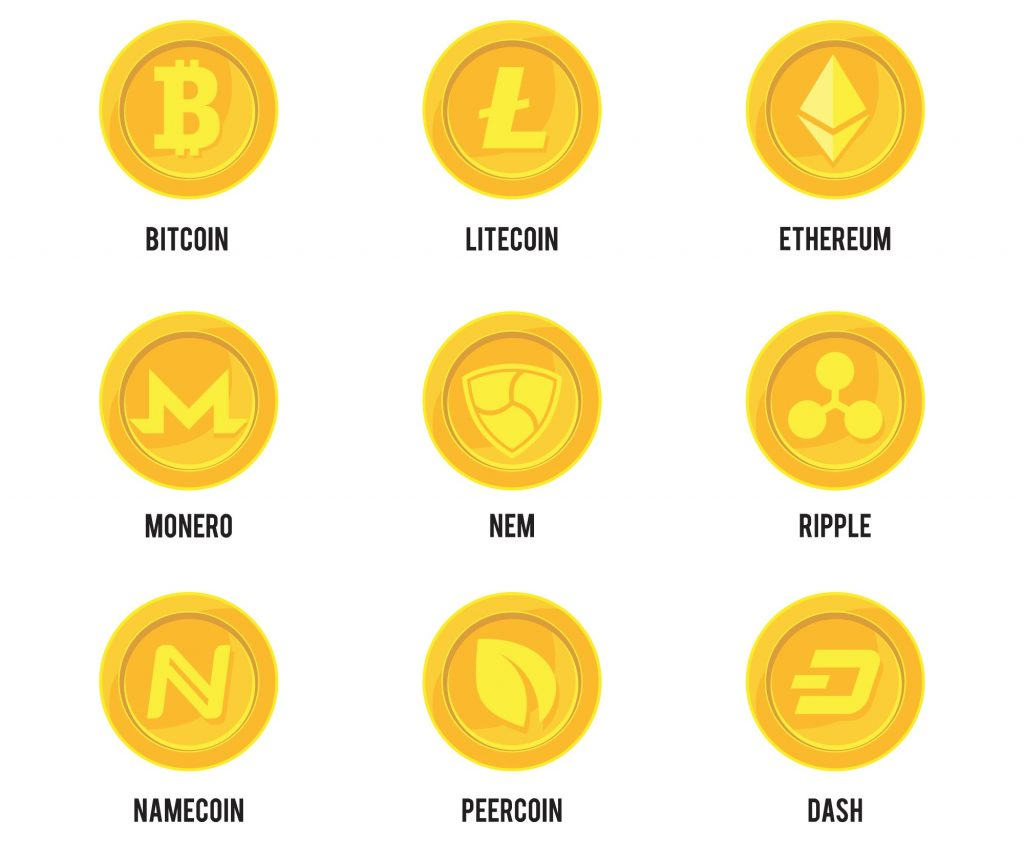 Different types of cryptocurrencies, coins, bitcoin, lithium, ethereum. Concept: cryptocurrency. Designed by Freepik