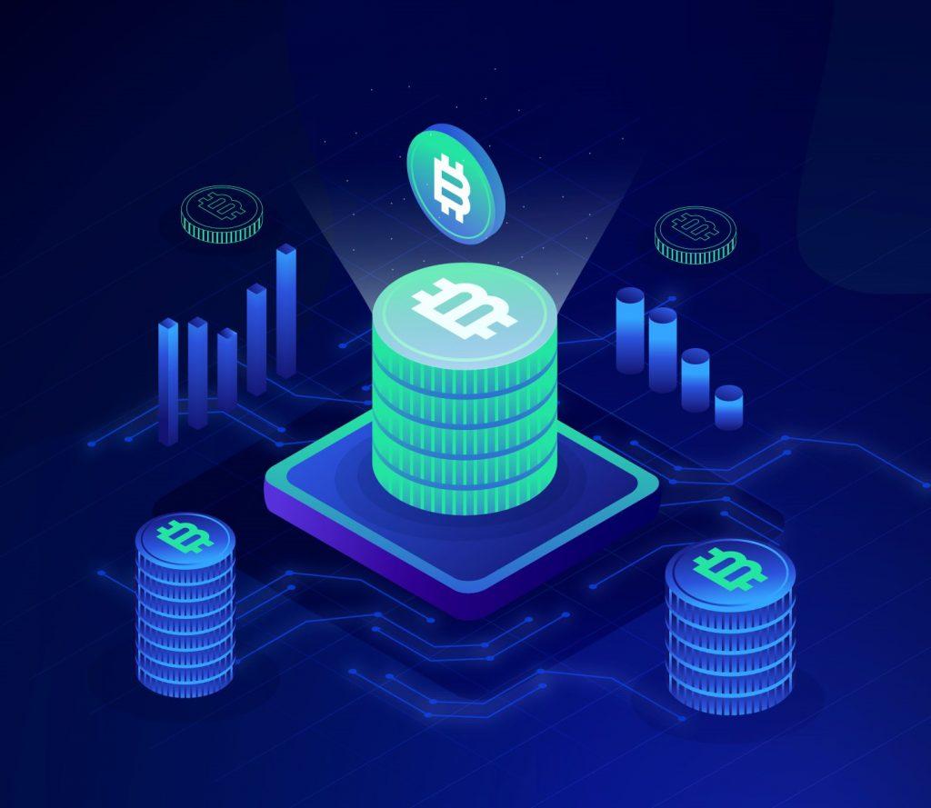 Imagen, ilustración de vectores de bitcoin. Concept: criptomonedas. Designed by pikisuperstar / Freepik
