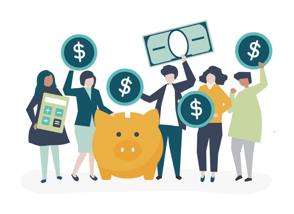 Grupo diverso de personas, ilustracion, concepto de ahorro. Concept: ingresos y ganancias. Designed by rawpixel.com / Freepik