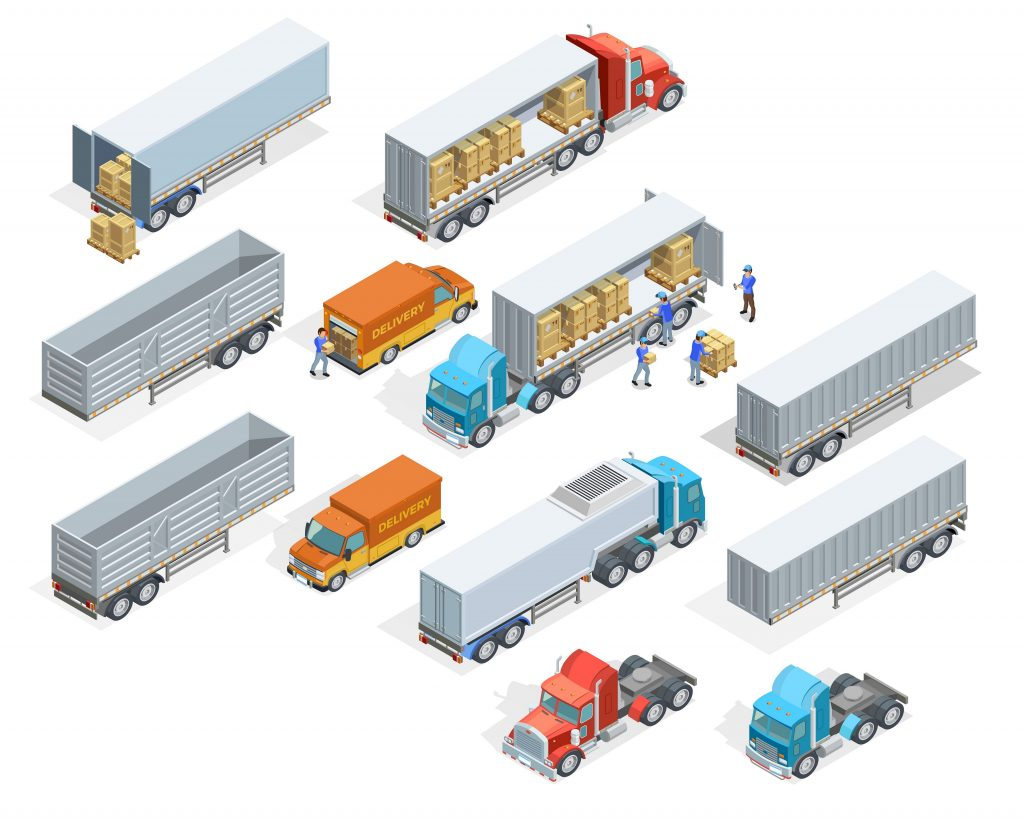 Transportation isometric elements set with loaded and empty trucks trailers boxes forklifts and workers isolated vector illustration. Designconcept: truck financing. Designed by macrovector / Freepik