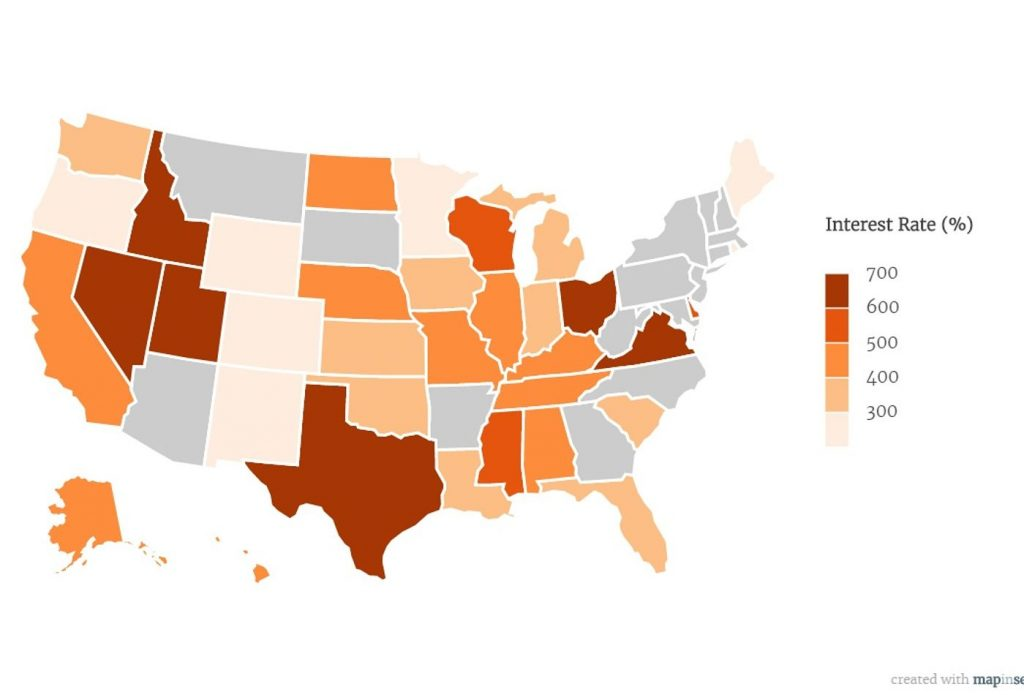 Payday losna APR rate US map. Concept: Microloans vs payday loans
