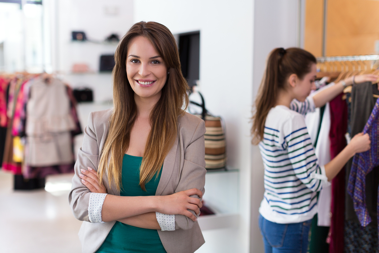 Sales assistant in clothing store. Concept: market share