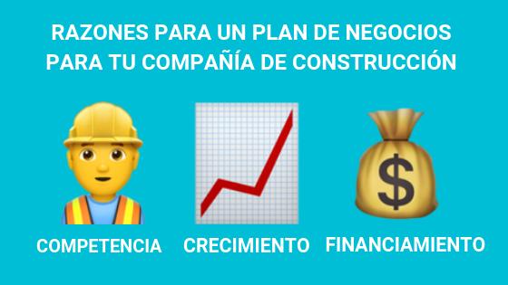 razones para un plan de negocios para tu compañía de construcción: competencia, crecimiento, financiamiento