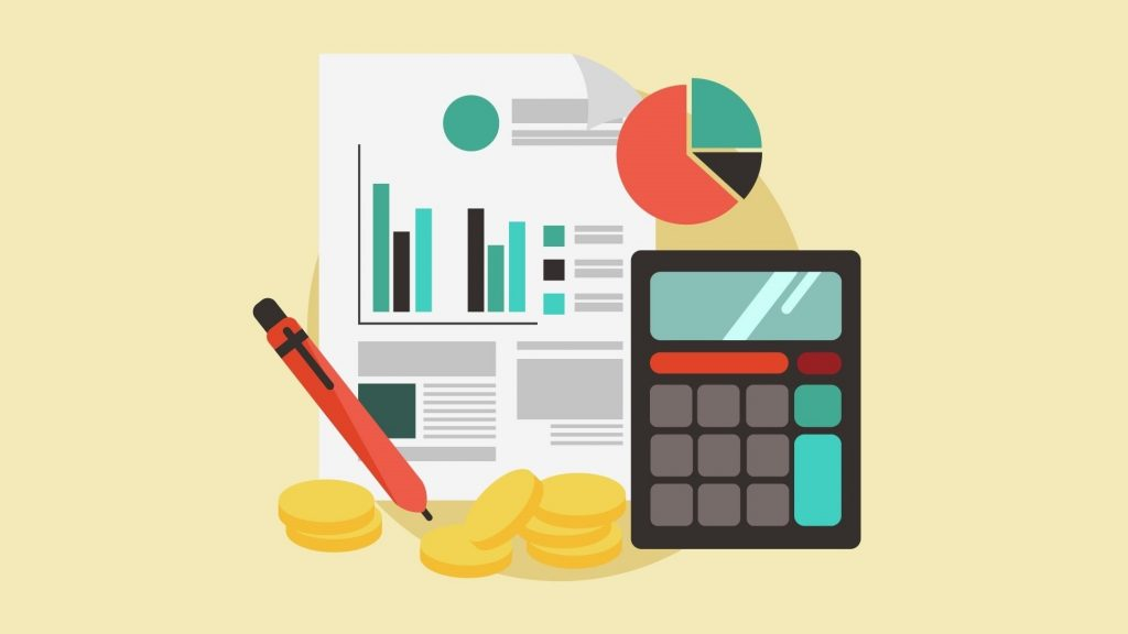 Imagen, vector, ilustración, calculadora, dinero, contador. Concept: Teneduría de