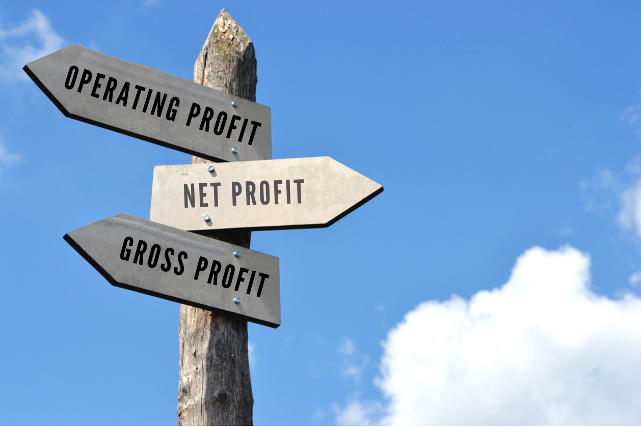 Wooden signpost with 3 arrows, blue sky in background. Concept: gross profit vs net profit vs operating profit