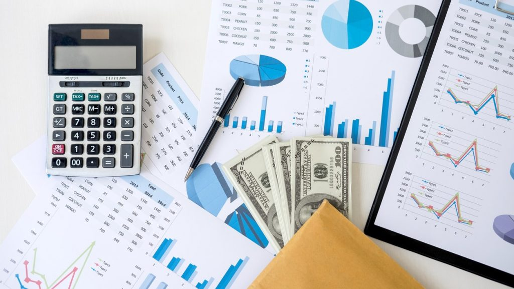 Business accessories in selective focus, Items for accounting, Marketing strategy, investment and saving, accounting and stock market. concept: gross profit vs net profit