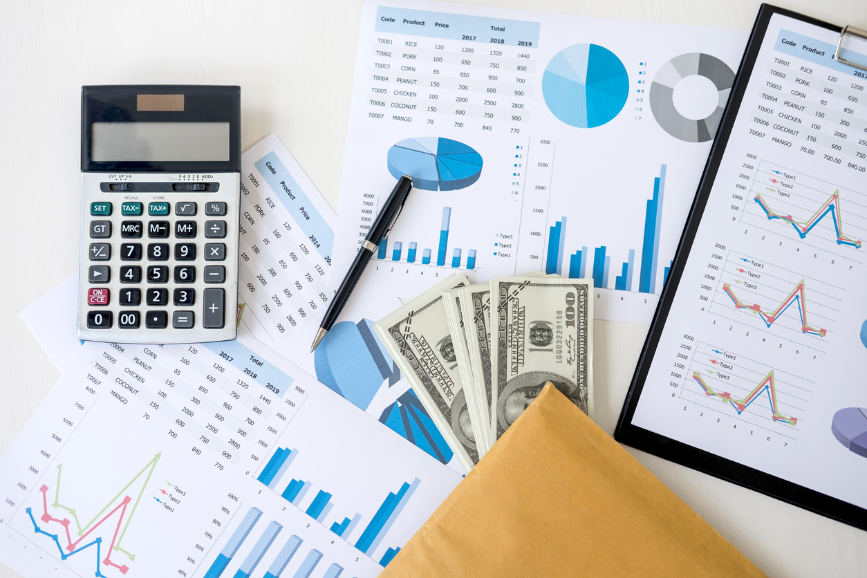 Business accessories in selective focus, Items for accounting, Marketing strategy, investment and saving, accounting and stock market. Concept: bookkeeping