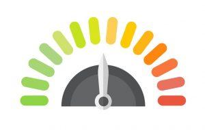 Nivel, contador, colores, niveles de verde a rojo. concept: relación deuda ingresos