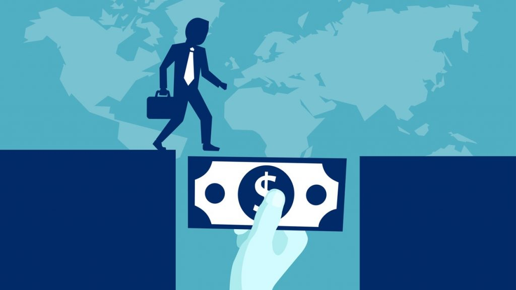 Ilustración, vector, persona de negocios cruzando un puente de dinero. Concept: tipos de préstamos